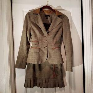 Bebe Plaid Miniskirt Suit